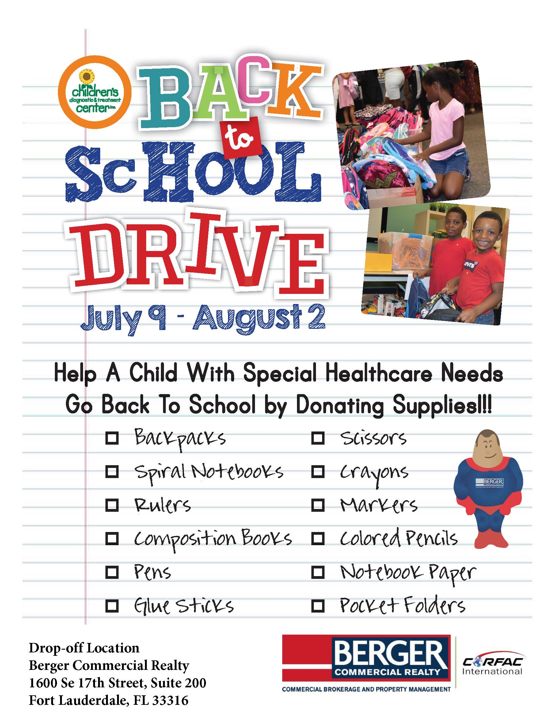 Berger Commercial Realty Holds Back To School Drive For CDTC