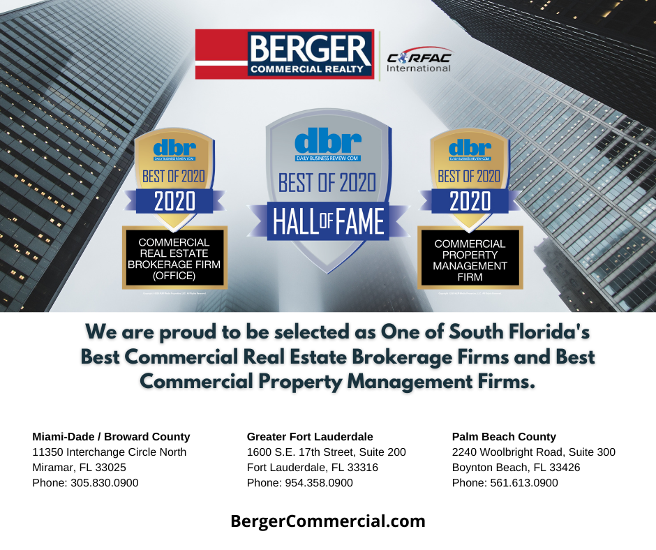 "Berger Commercial Realty Named ""Best Of"" In The Daily Business Review"