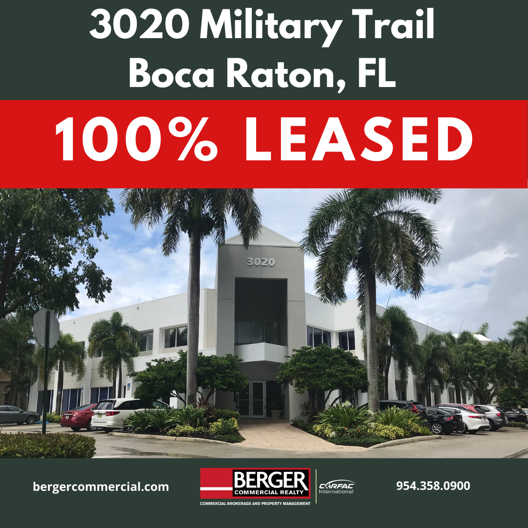Berger Commercial Realty Executes Long Term Office Lease Deal In Boca Raton