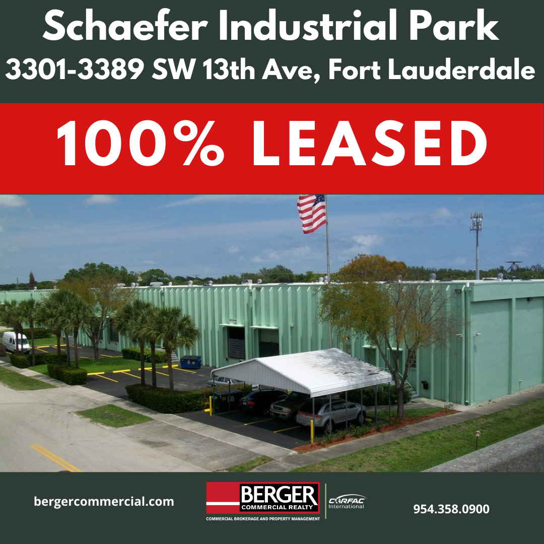 Berger Commercial Realty Negotiates 18,000-SF Industrial Lease Deal, Bringing Schaefer Industrial Park To 100% Occupancy