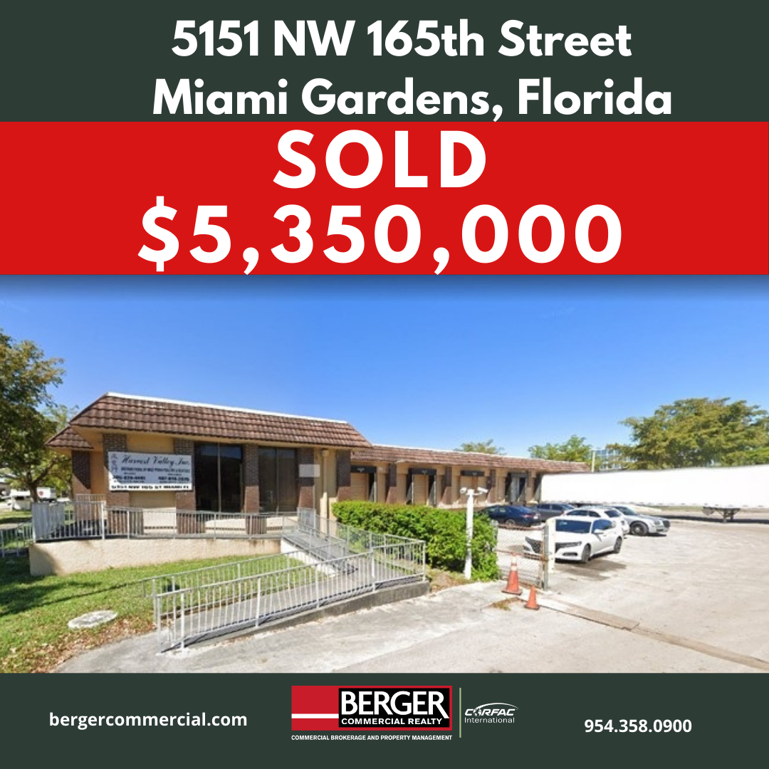 Berger Commercial Realty's Lawrence Oxenberg, Jonathan Thiel Negotiate Sale Of Miami Gardens Perishable Food Distribution Facility