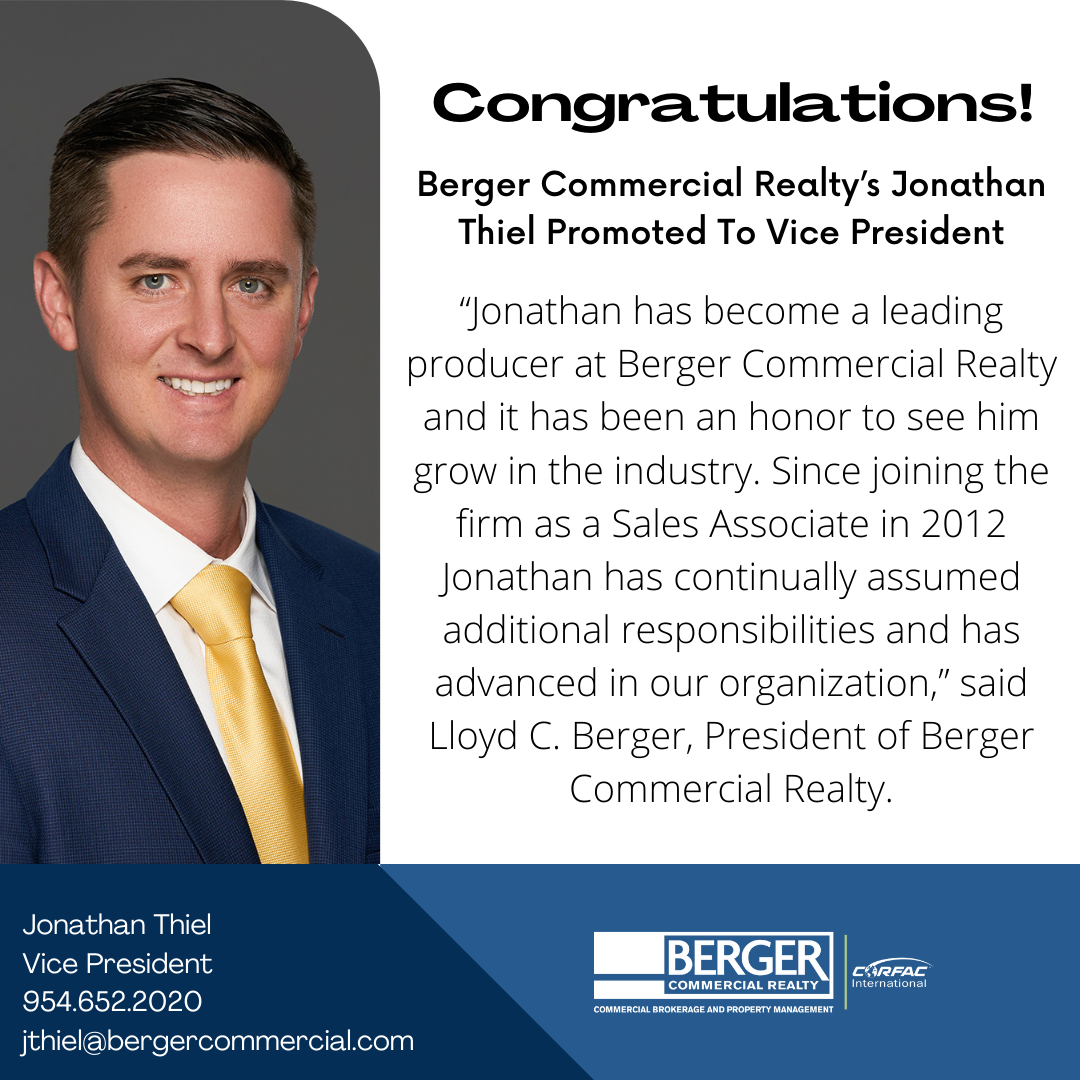 Berger Commercial Realty's Jonathan Thiel Promoted To Vice President